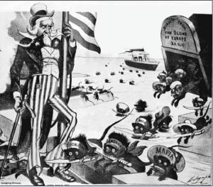 """1903 Vignetta """"Occhio zio Sam arrivano i sorci"""""""